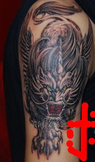 纹身   招财辟邪的貔貅纹身图片   玲珑刺青 背部貔貅-玲珑纹高清图片
